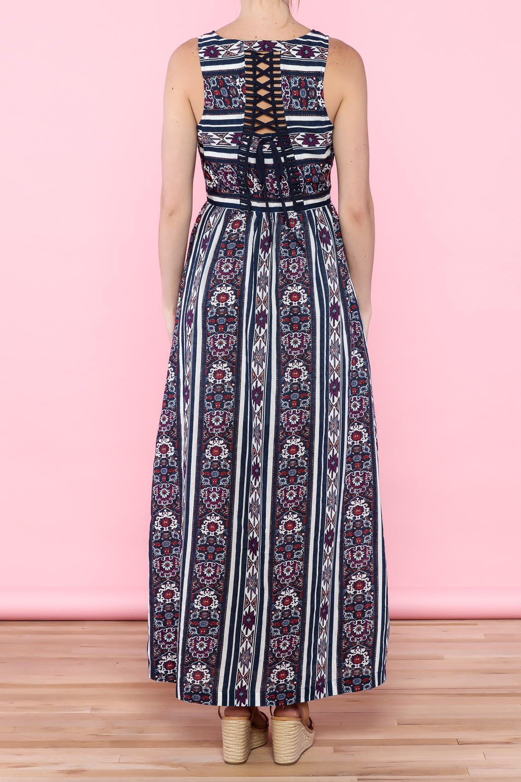 Skies Are Blue Navy Maxi Dress - Back Cropped Image