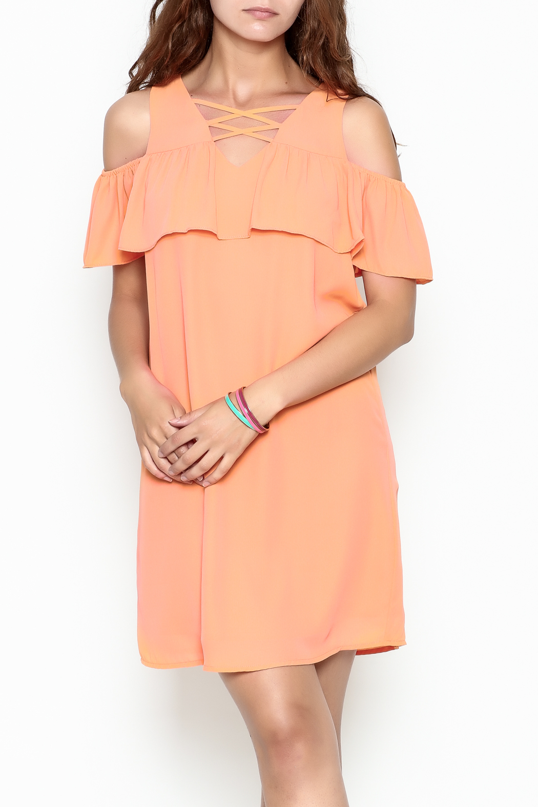 Skies Are Blue Tangerine Dreams Dress - Front Cropped Image
