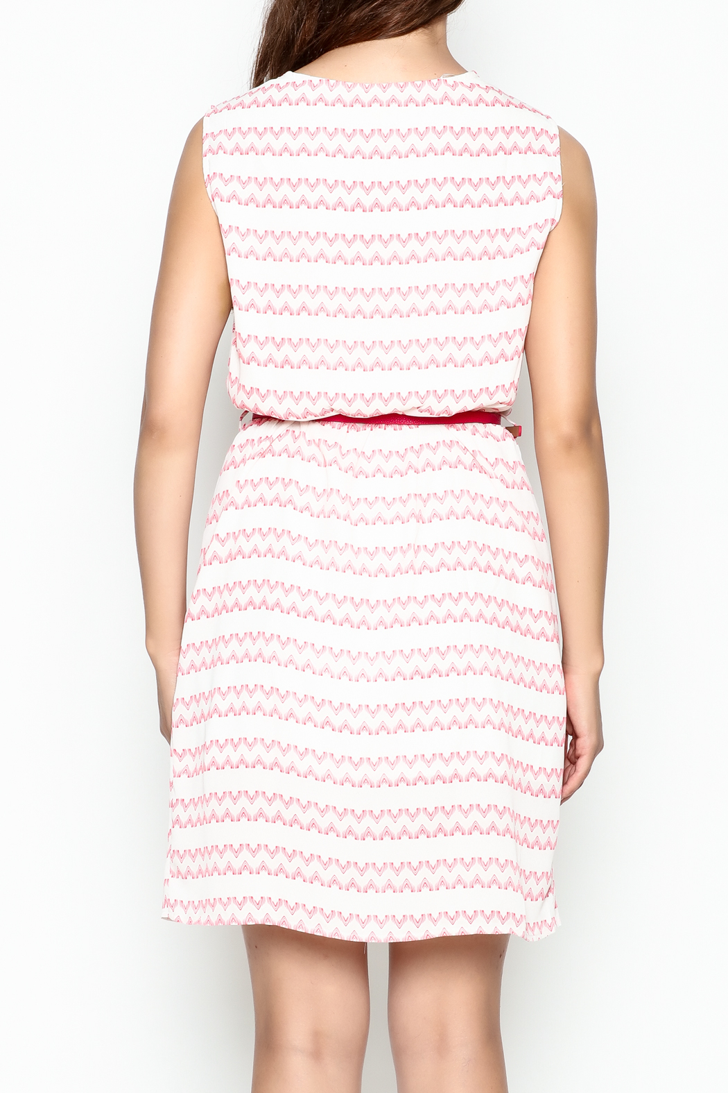 Skies Are Blue White And Pink Dress - Back Cropped Image