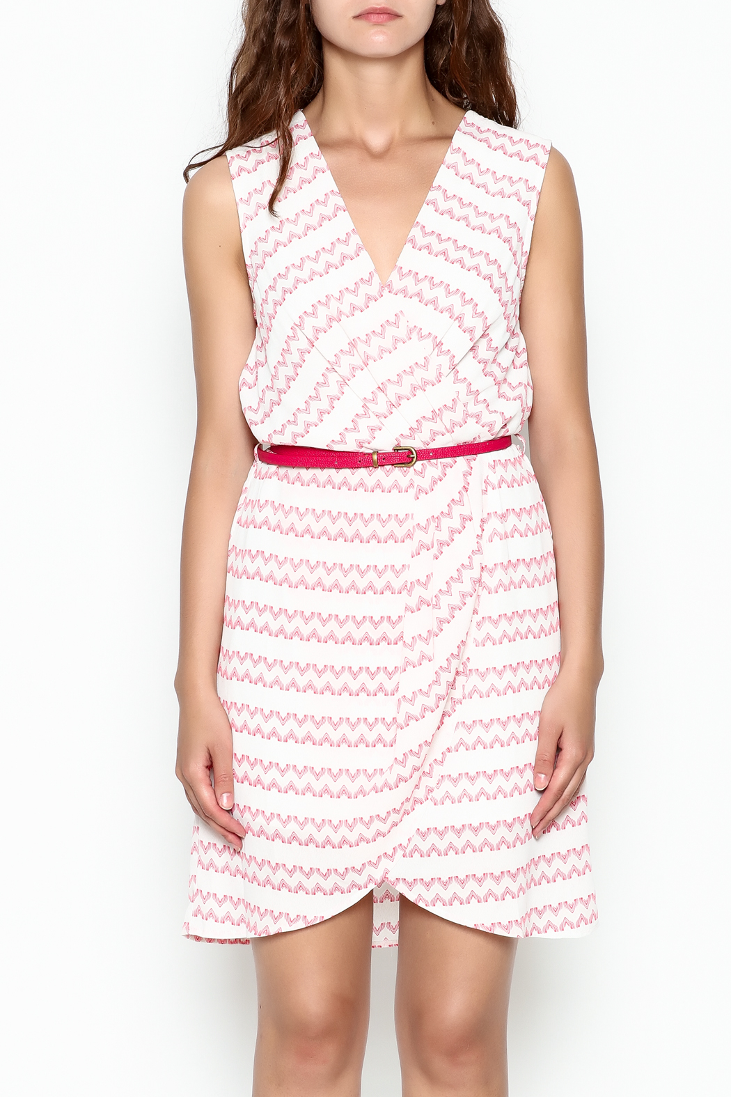 Skies Are Blue White And Pink Dress - Front Full Image