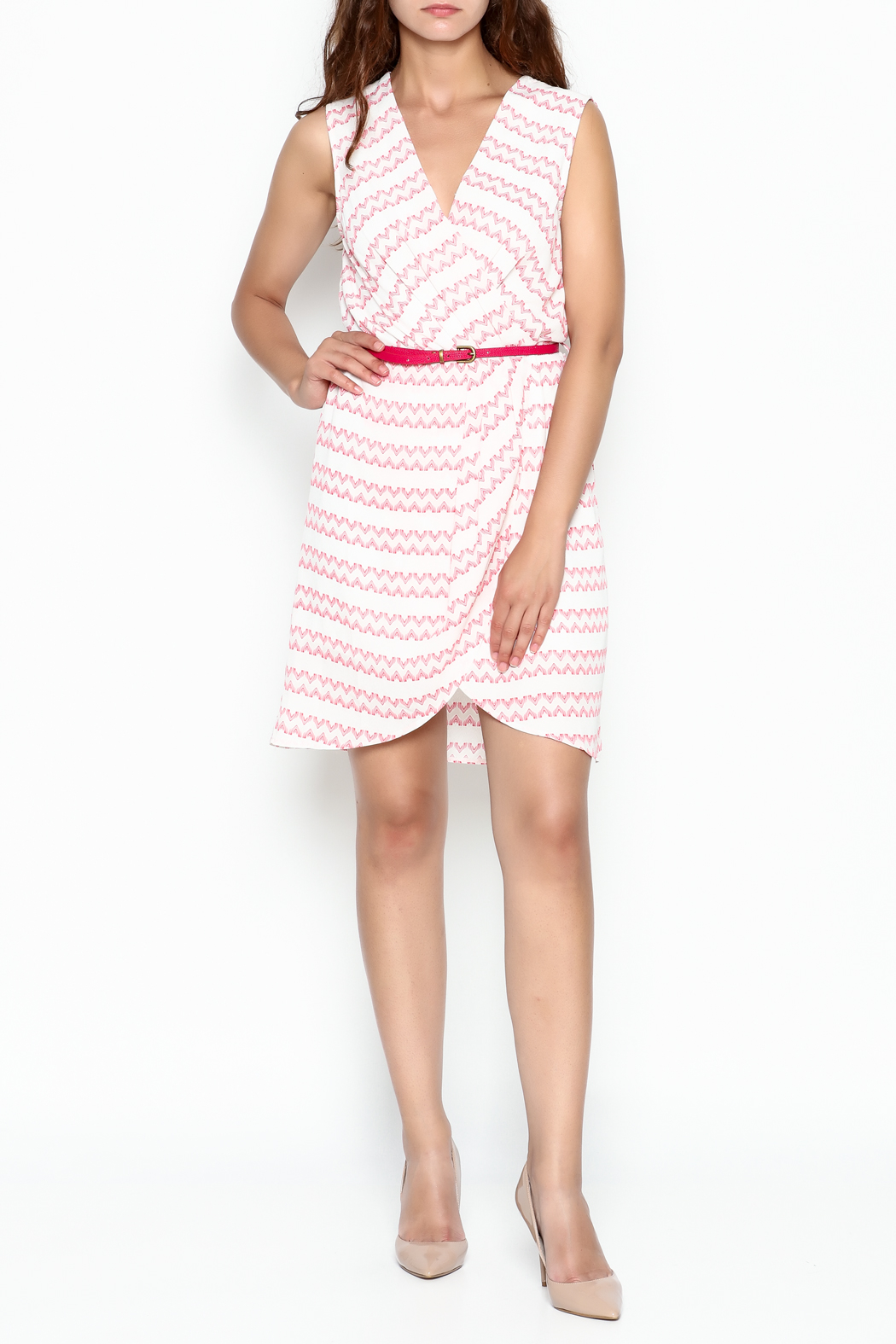 Skies Are Blue White And Pink Dress - Side Cropped Image