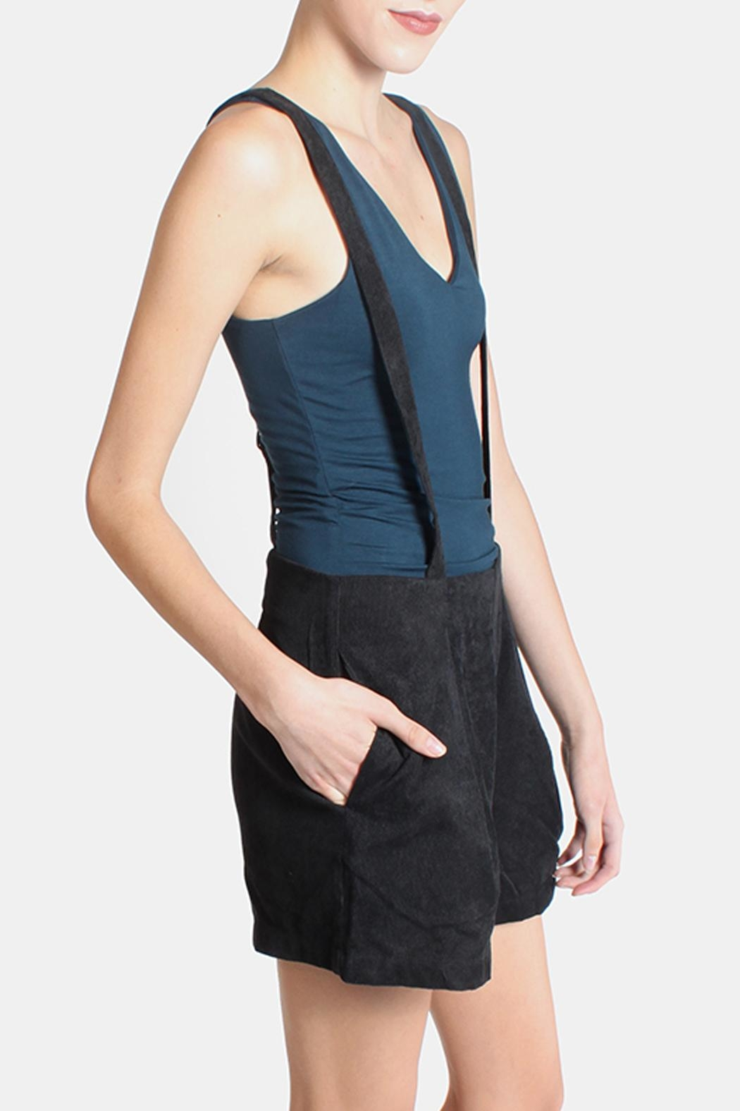 Skies Are Blue Black Corduroy Overall Shorts - Front Full Image