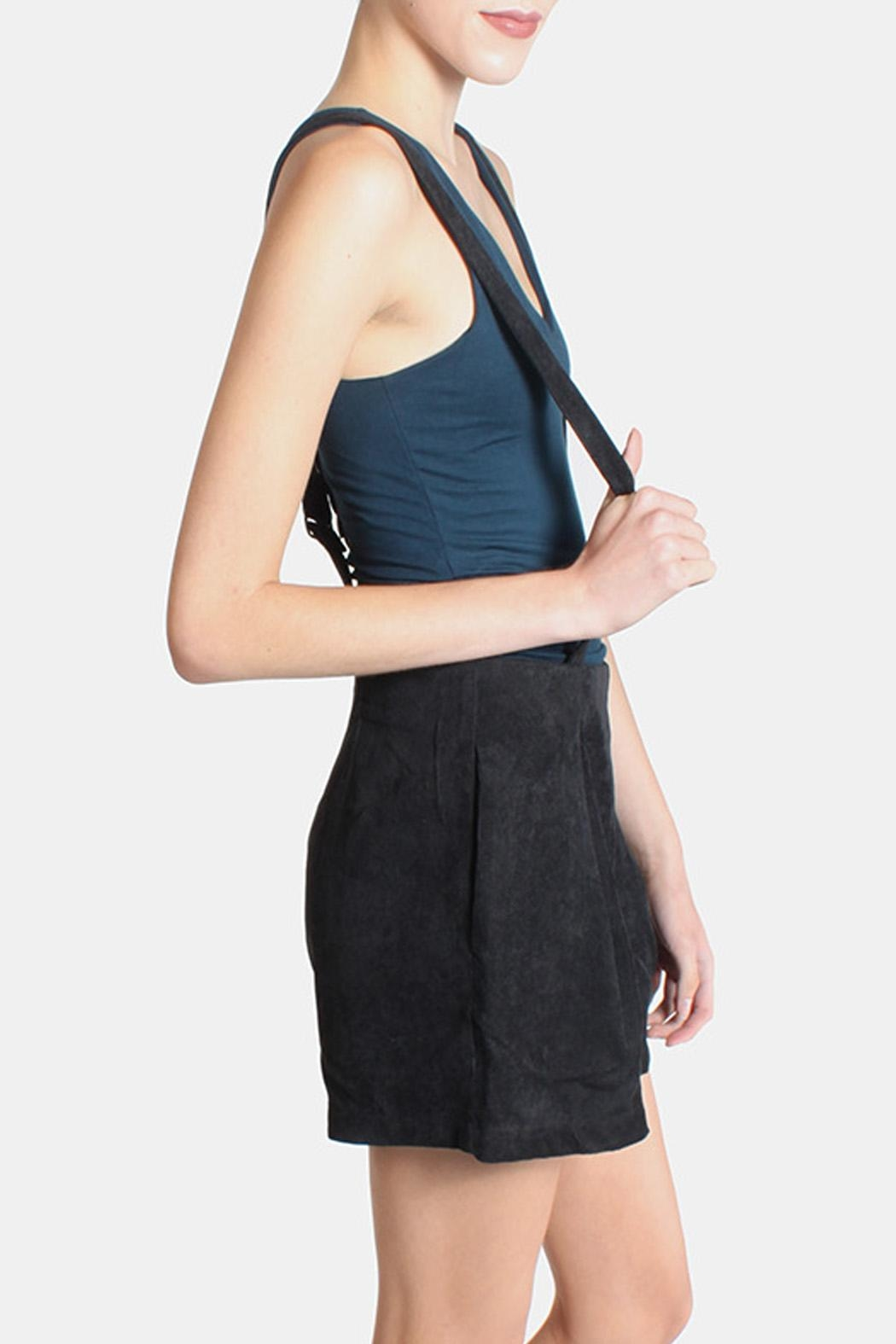 Skies Are Blue Black Corduroy Overall Shorts - Side Cropped Image