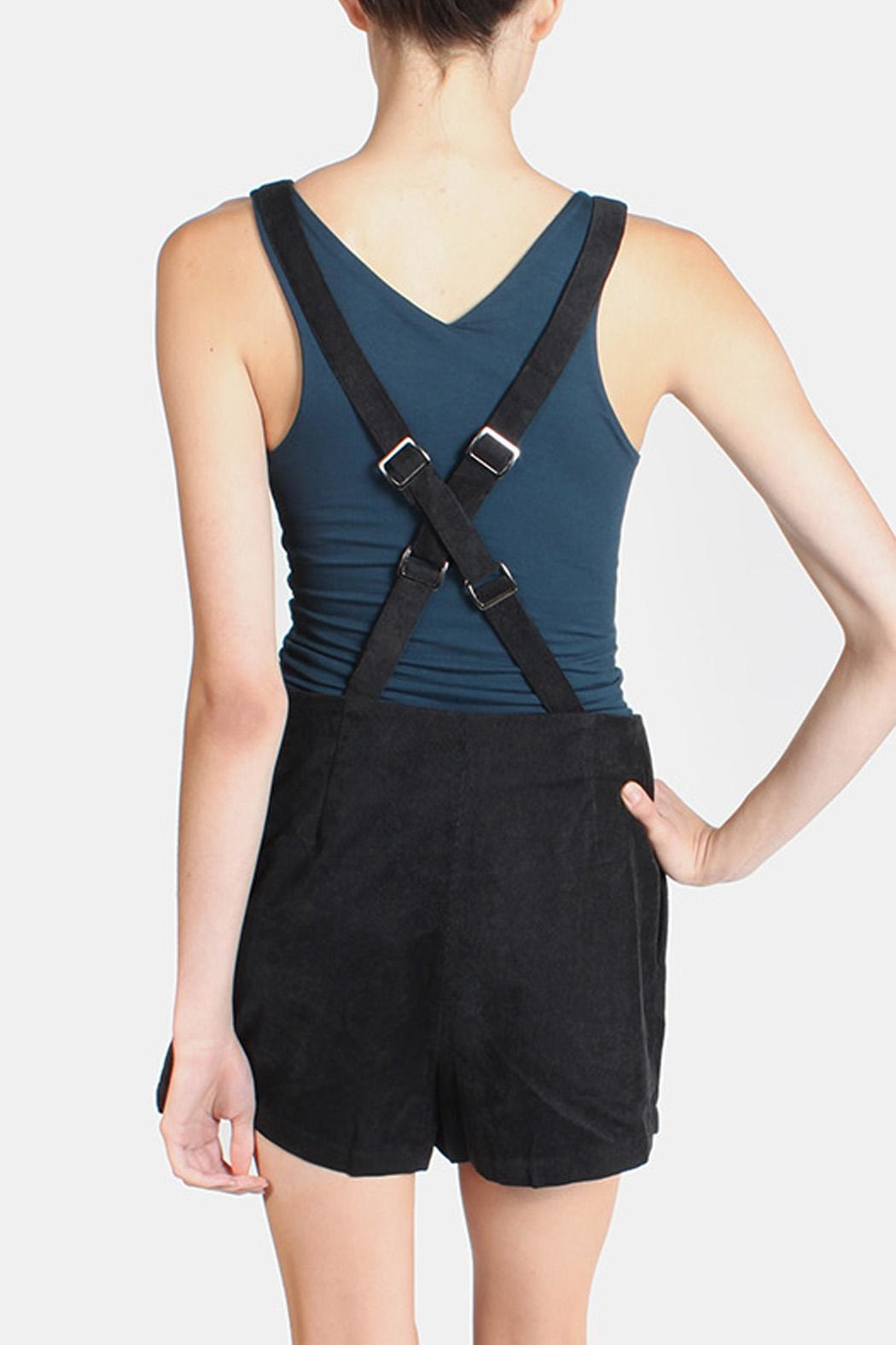Skies Are Blue Black Corduroy Overall Shorts - Back Cropped Image