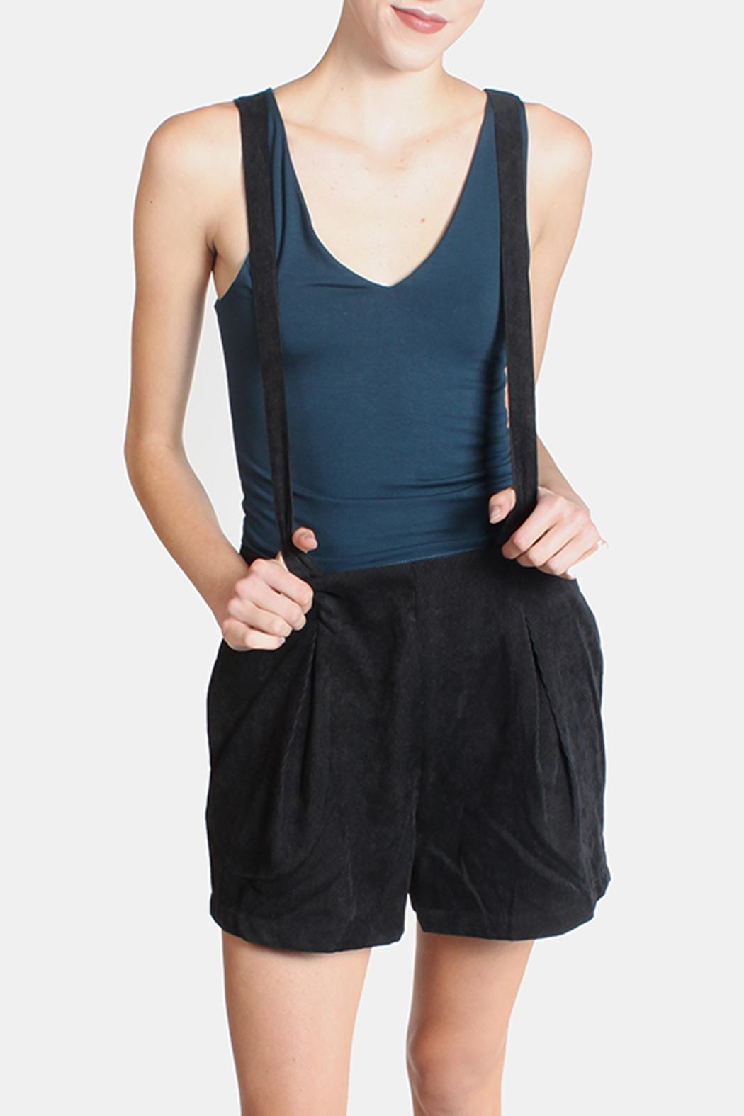 Skies Are Blue Black Corduroy Overall Shorts - Main Image