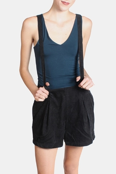Shoptiques Product: Black Corduroy Overall Shorts