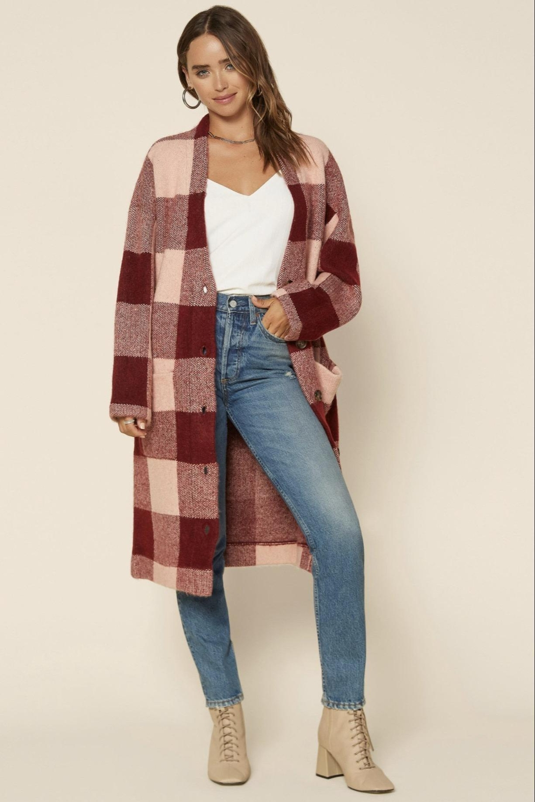 Skies Are Blue Buffalo Check Sweater Coat - Main Image
