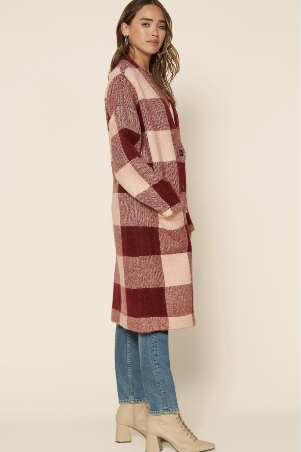 Skies Are Blue Buffalo Check Sweater Coat - Side Cropped Image