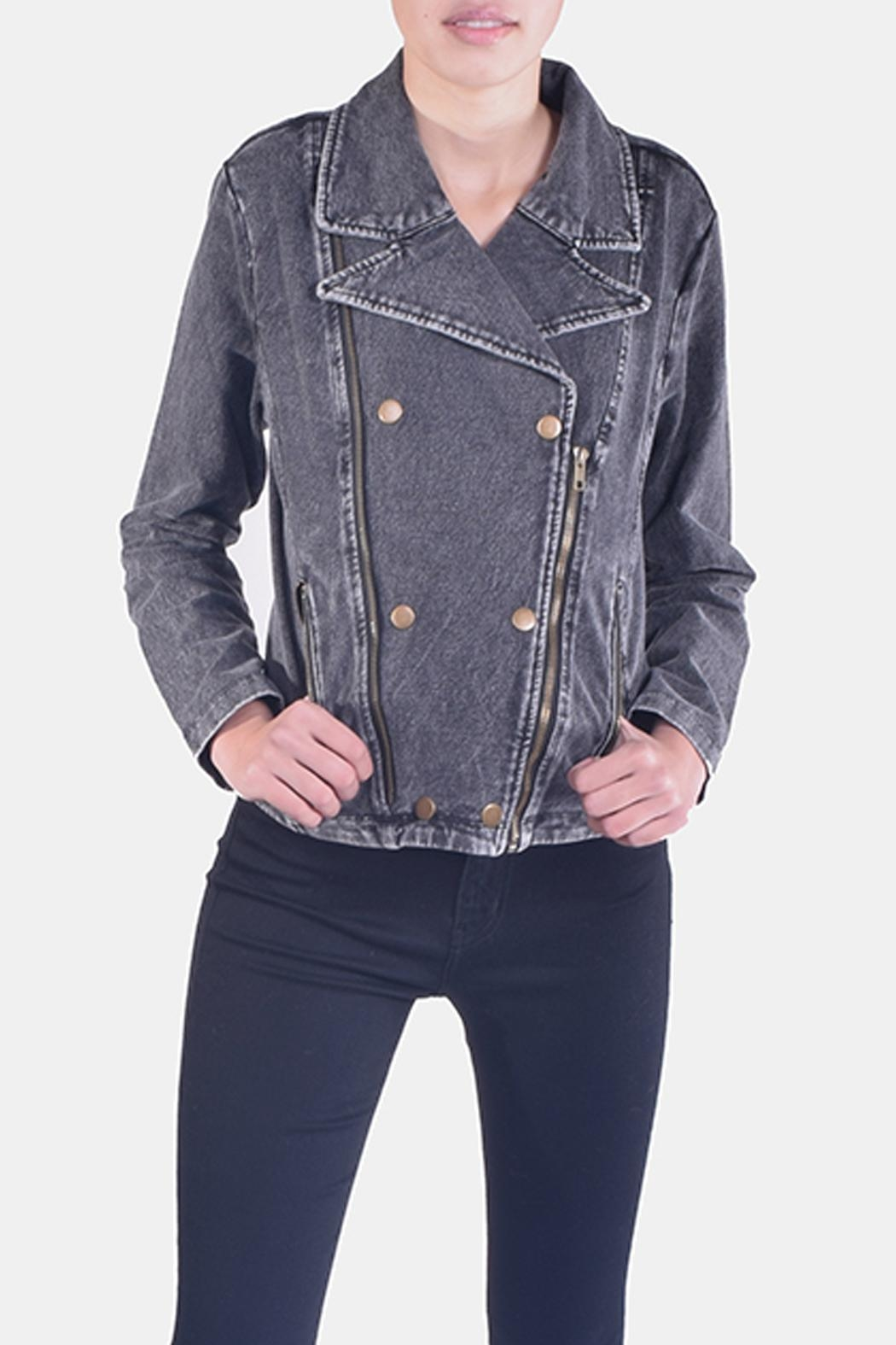Skies Are Blue Charcoal-Wash Denim Jacket - Front Cropped Image