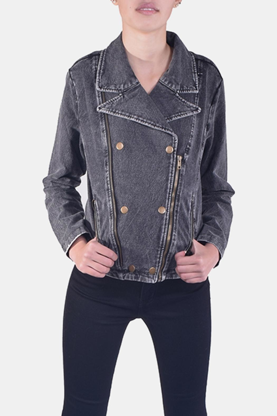 Skies Are Blue Charcoal-Wash Denim Jacket - Front Full Image