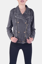 Skies Are Blue Charcoal-Wash Denim Jacket - Front full body