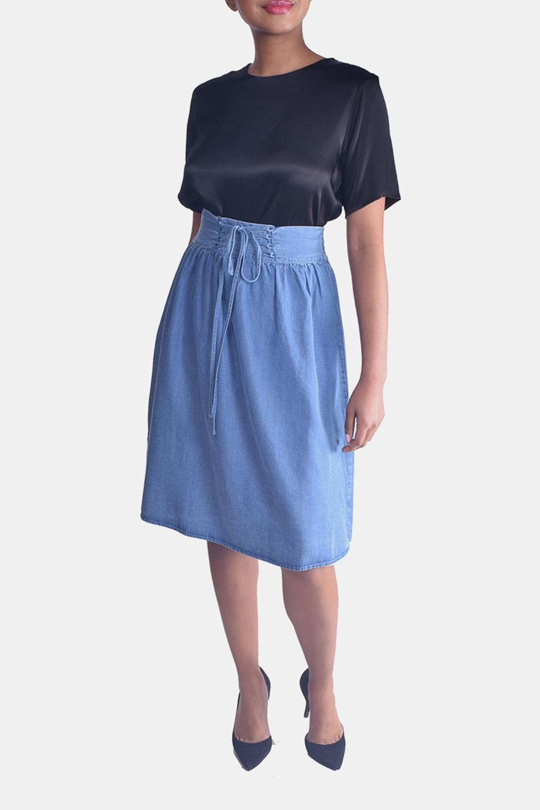 Skies Are Blue Corset Denim Skirt - Front Cropped Image
