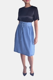 Skies Are Blue Corset Denim Skirt - Front cropped