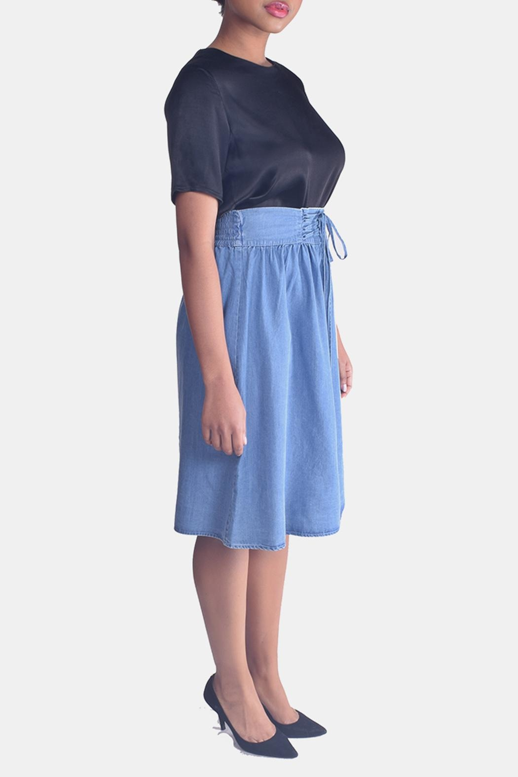 Skies Are Blue Corset Denim Skirt - Side Cropped Image