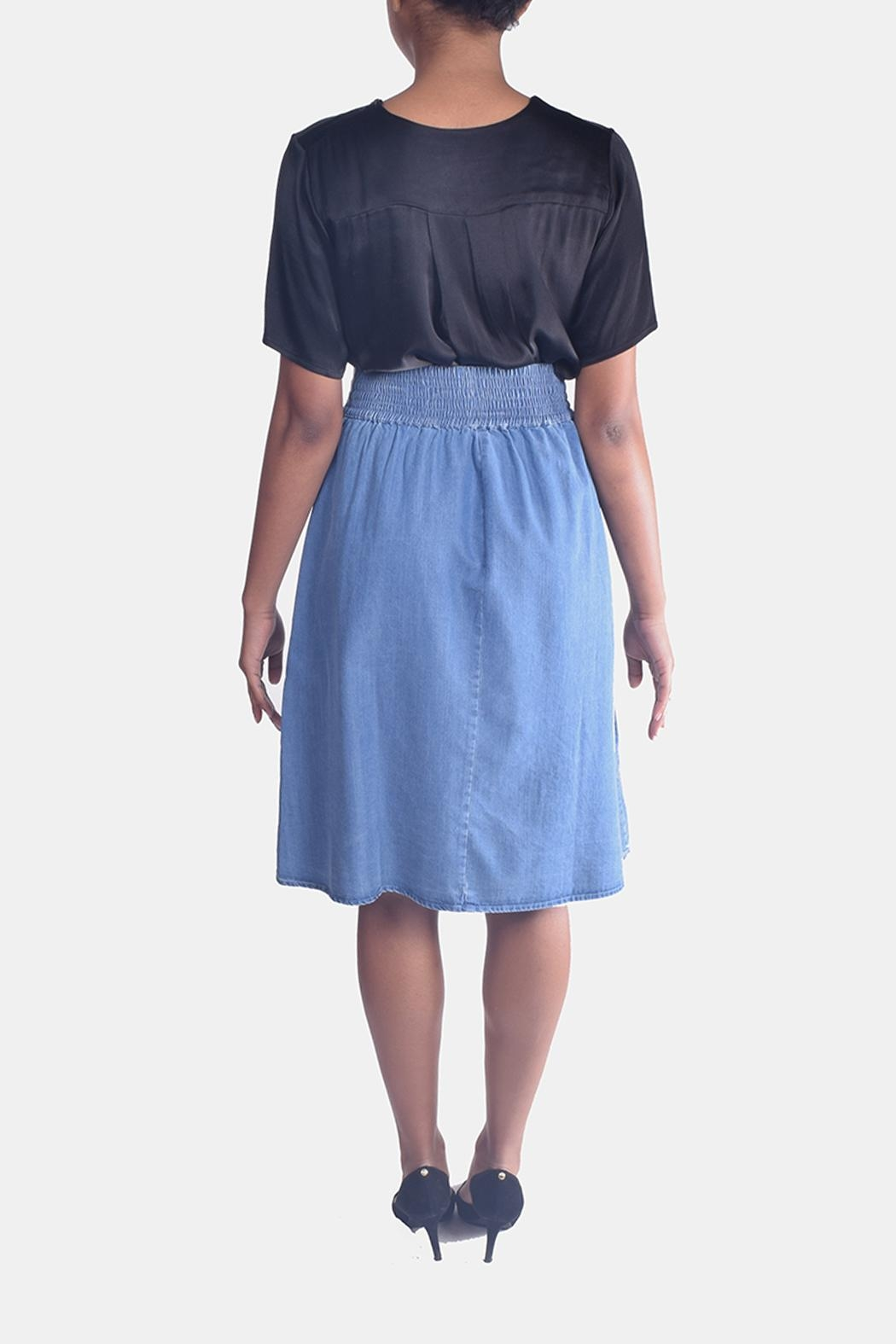 Skies Are Blue Corset Denim Skirt - Back Cropped Image