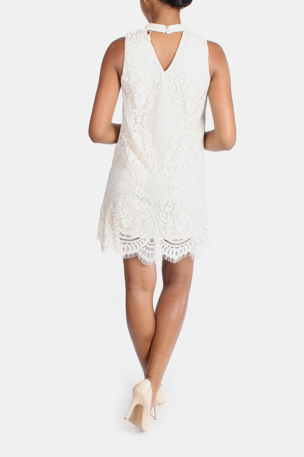 Skies Are Blue Cream Lace High-Neck-Dress - Back Cropped Image