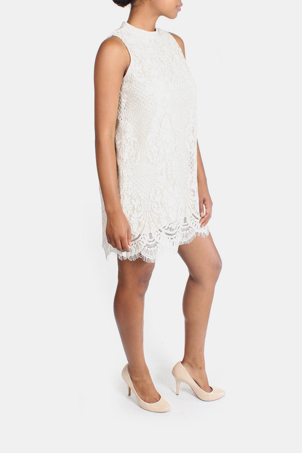 Skies Are Blue Cream Lace High-Neck-Dress - Front Full Image