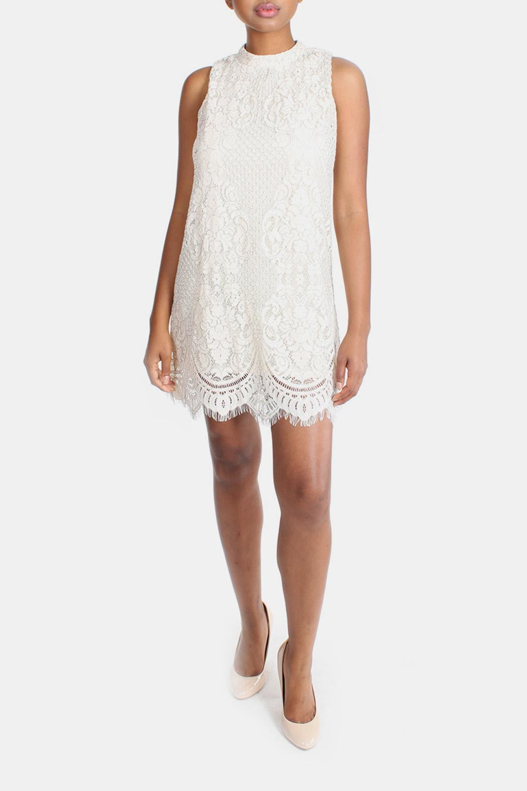 Skies Are Blue Cream Lace High-Neck-Dress - Main Image
