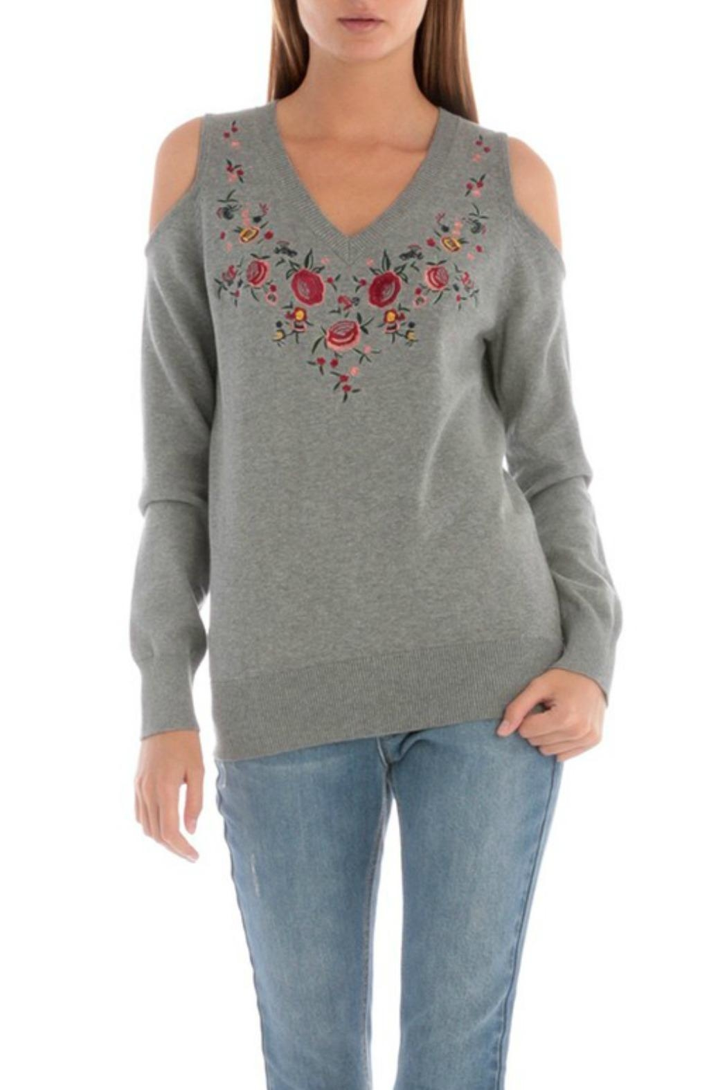 Skies Are Blue Embroidered Cold-Shoulder Top - Main Image