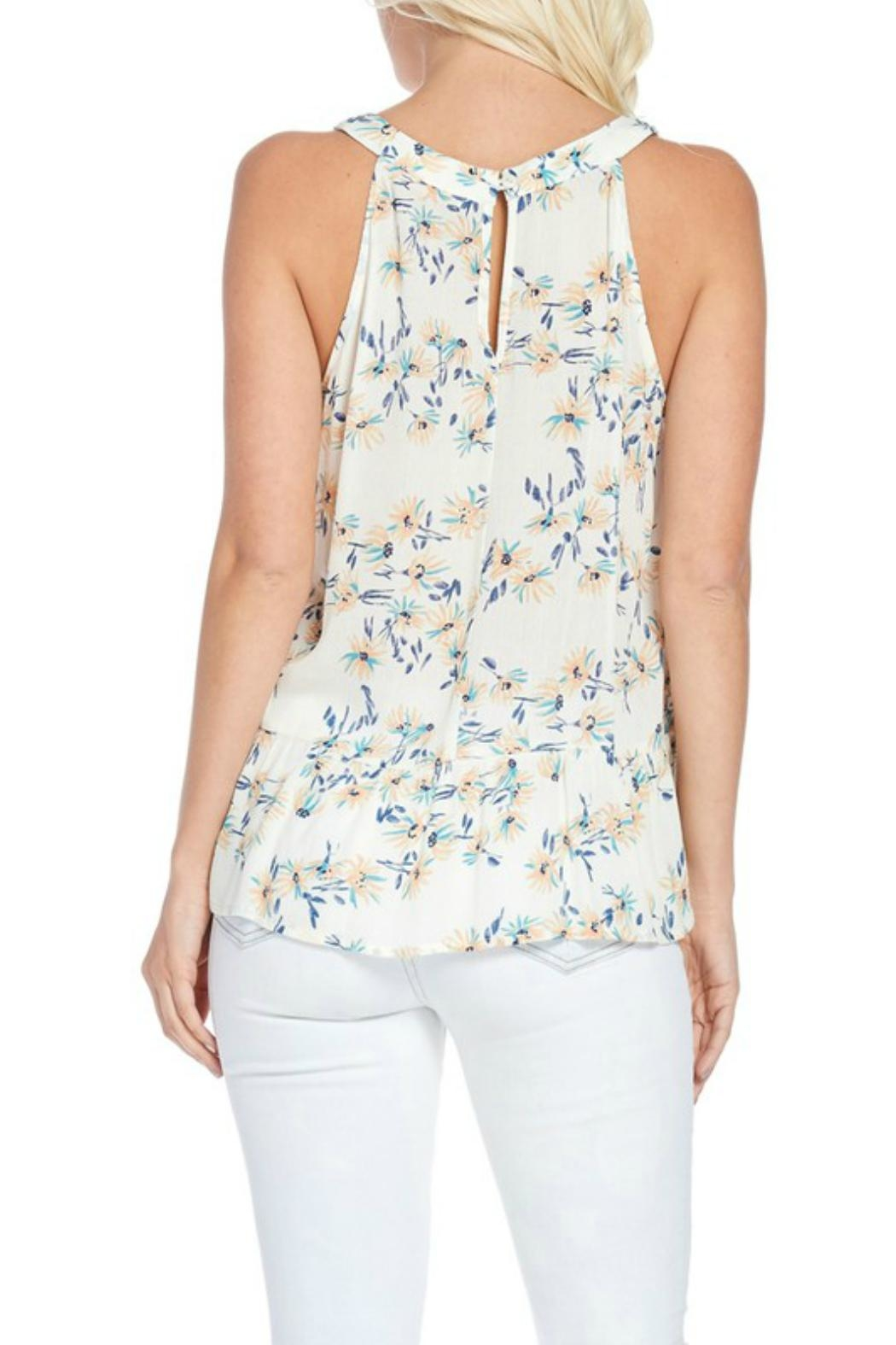 Skies Are Blue Embroidered Halter Top - Back Cropped Image