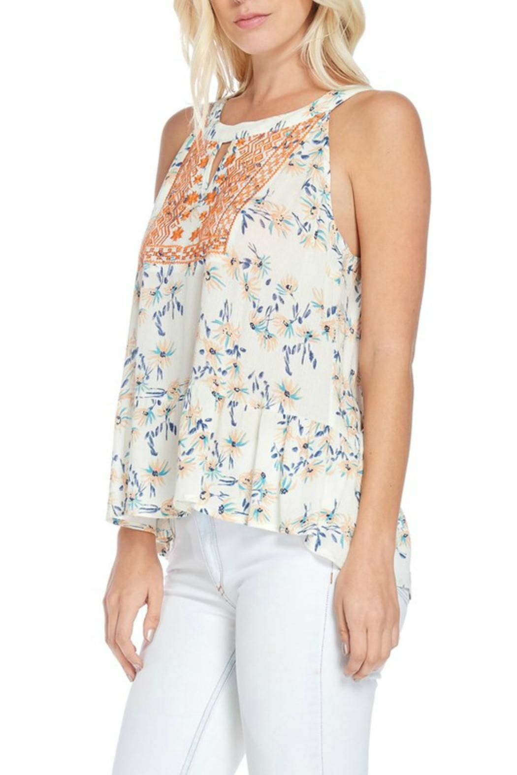 Skies Are Blue Embroidered Halter Top - Side Cropped Image
