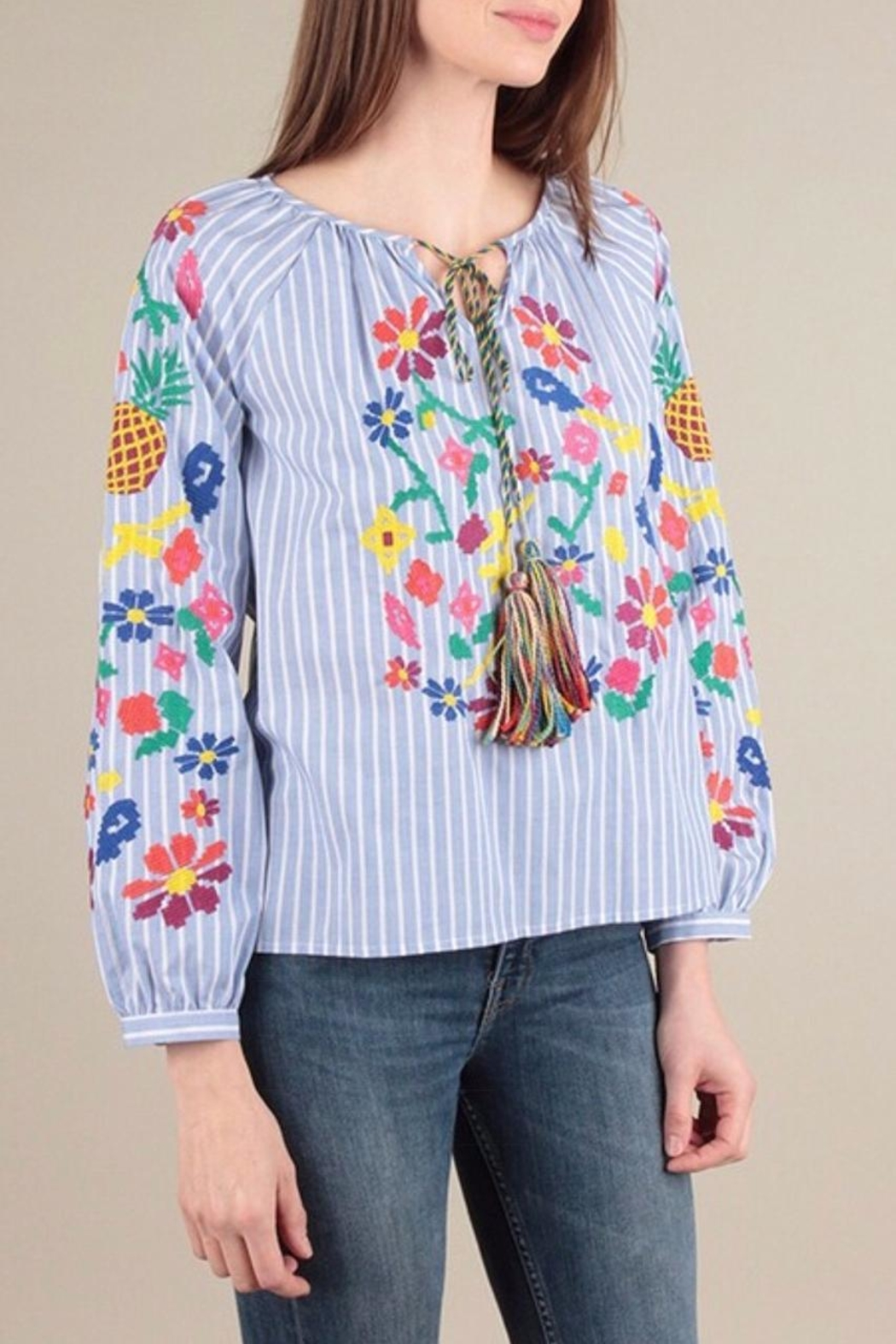 Skies Are Blue Embroidered Stripe Top - Front Full Image