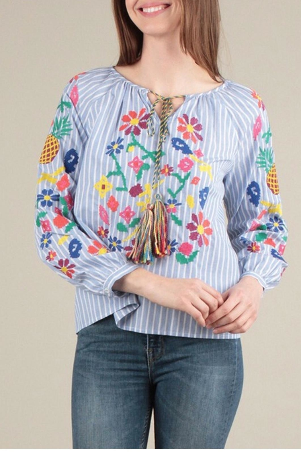 Skies Are Blue Embroidered Stripe Top - Front Cropped Image