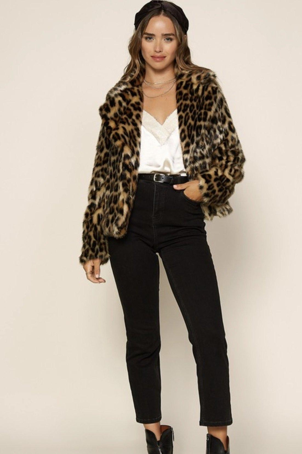 Skies Are Blue Faux Fur Leopard Jacket - Back Cropped Image