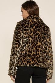 Skies Are Blue Faux Fur Leopard Jacket - Front full body