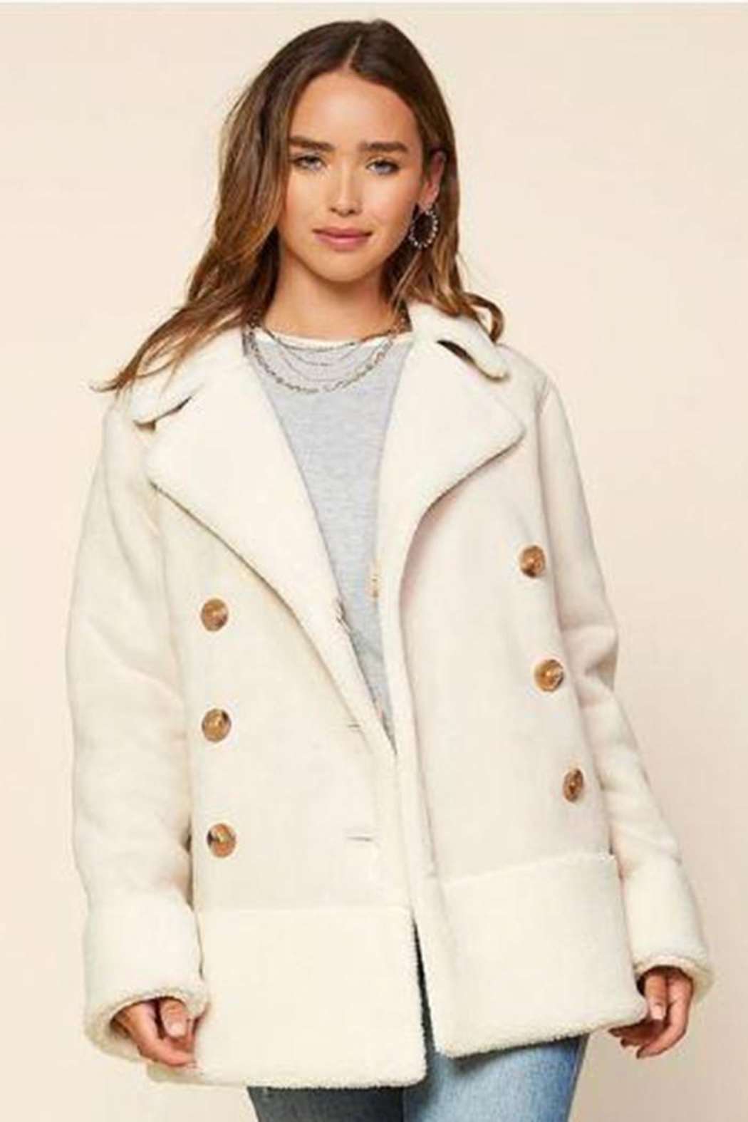 Skies Are Blue Faux Shearling Jacket - Front Full Image