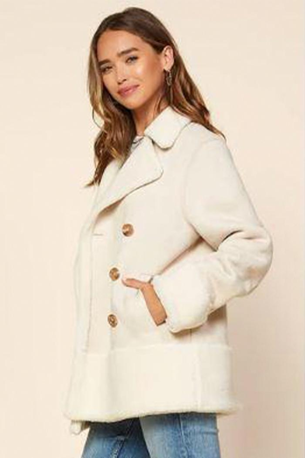 Skies Are Blue Faux Shearling Jacket - Side Cropped Image