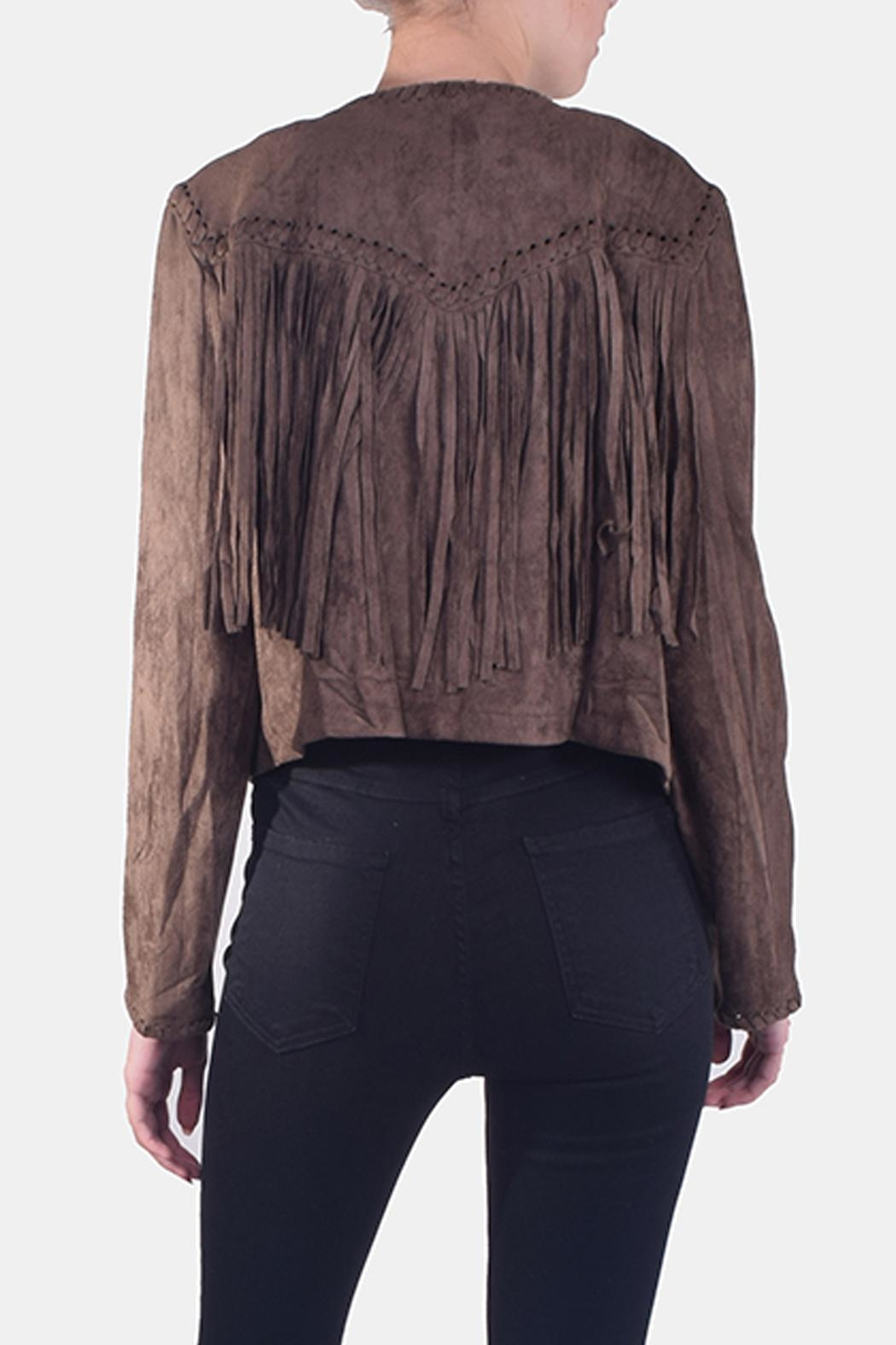 Skies Are Blue Faux-Suede Fringe Jacket - Back Cropped Image