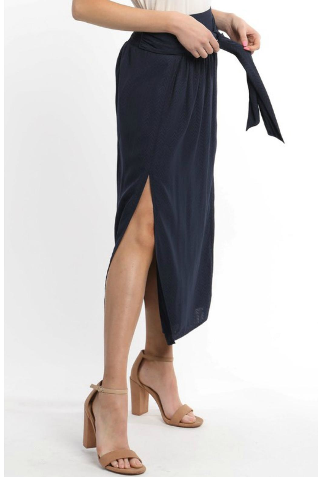 Skies Are Blue Front Slit Midi-Skirt - Side Cropped Image
