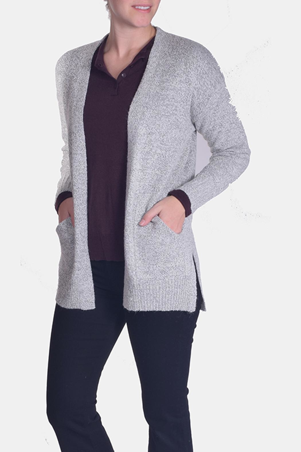 Skies Are Blue Grey Knit Cardigan - Front Full Image