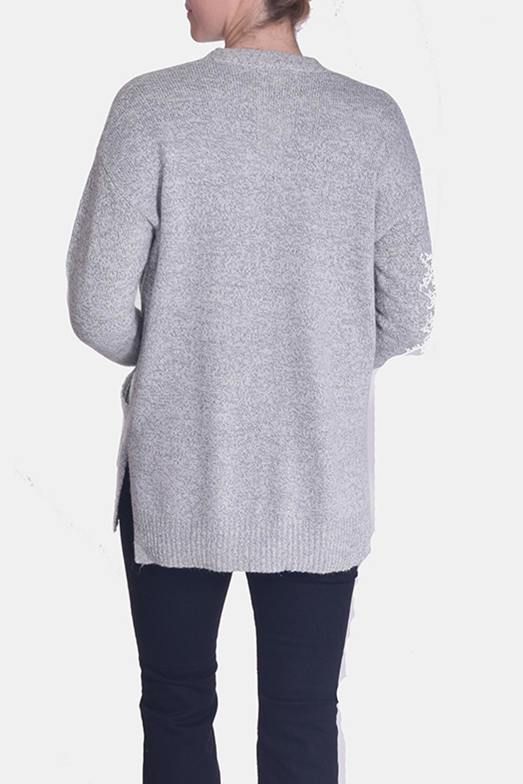 Skies Are Blue Grey Knit Cardigan - Side Cropped Image