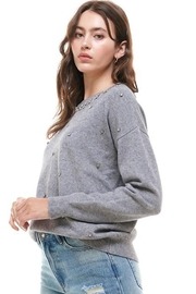 Skies Are Blue Grey Rhinestone Sweater - Product Mini Image
