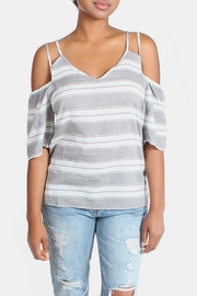 Skies Are Blue Cold Shoulder Blouse - Front full body