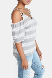 Skies Are Blue Cold Shoulder Blouse - Side cropped