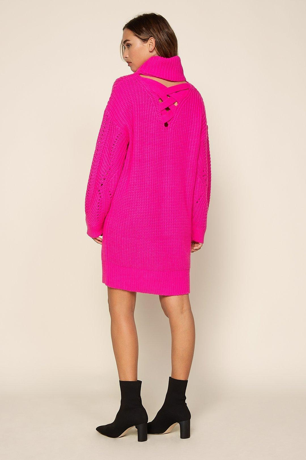 Skies Are Blue Hot Flamingo Sweater Dress - Side Cropped Image