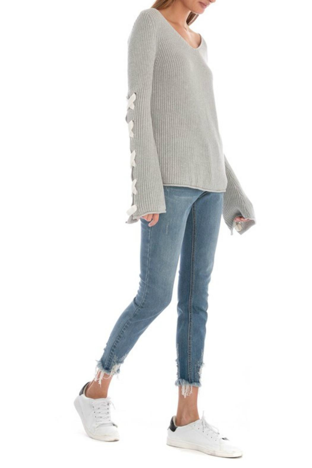 Skies Are Blue Lace Up Sleeve Sweater - Front Full Image