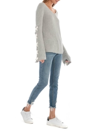 Skies Are Blue Lace Up Sleeve Sweater - Front full body