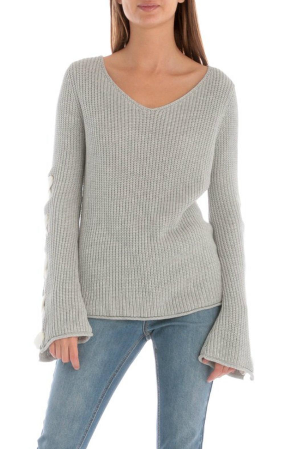 Skies Are Blue Lace Up Sleeve Sweater - Side Cropped Image