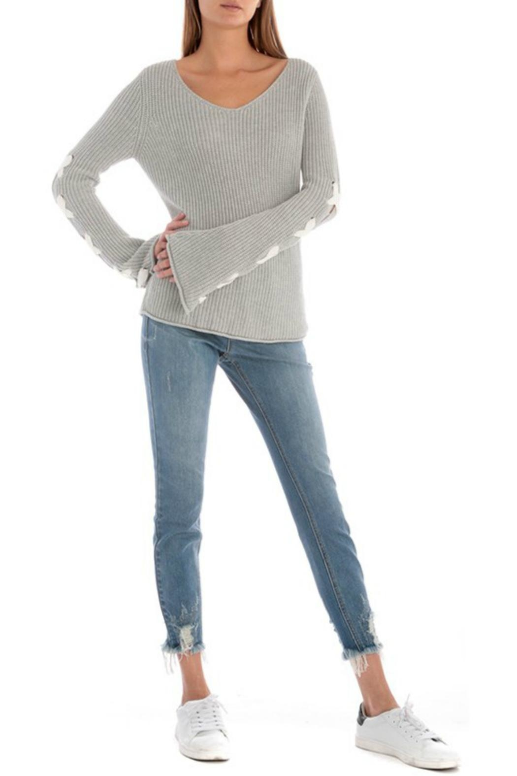 Skies Are Blue Lace Up Sleeve Sweater - Main Image