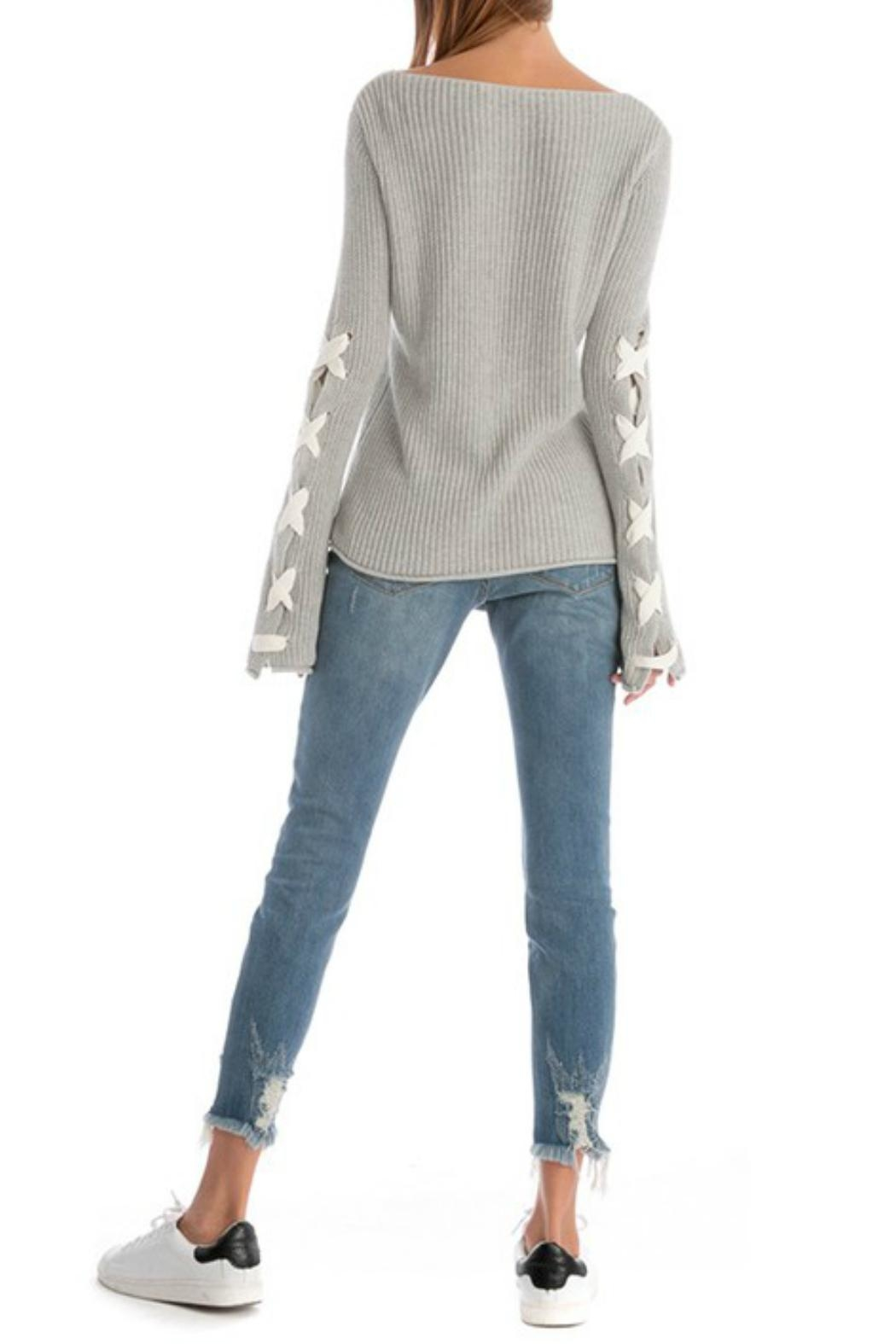 Skies Are Blue Lace Up Sleeve Sweater - Back Cropped Image