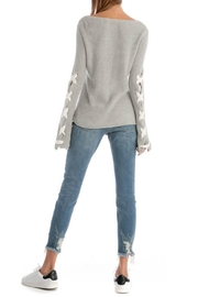 Skies Are Blue Lace Up Sleeve Sweater - Back cropped