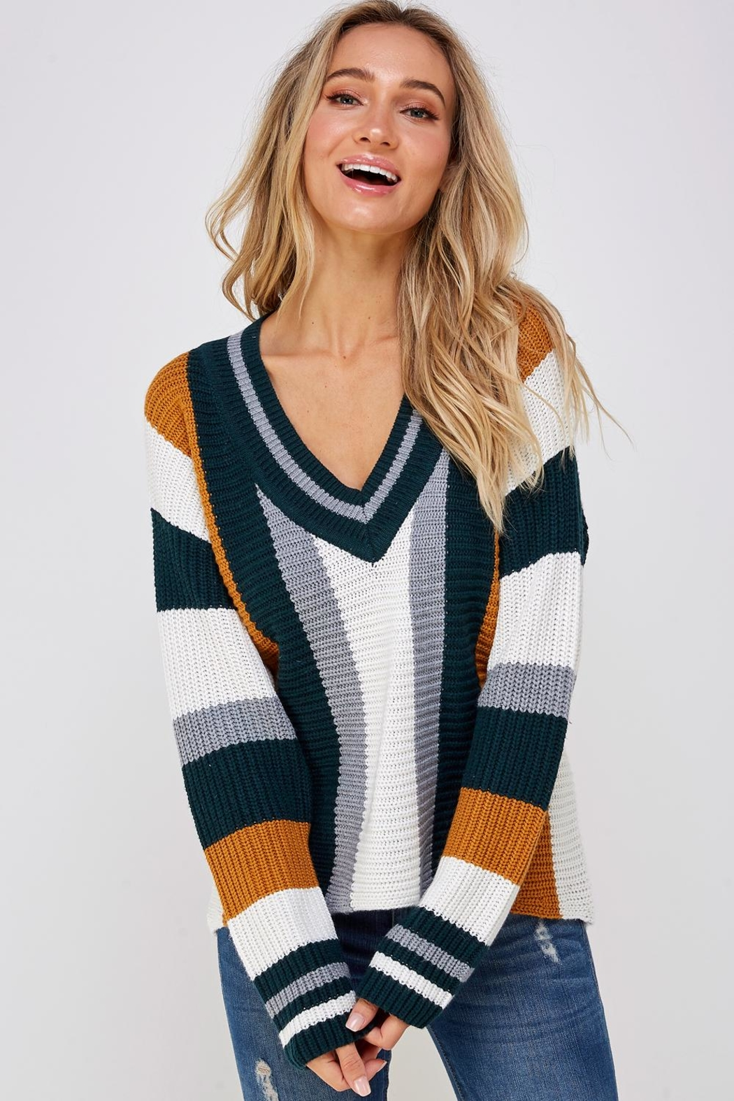 Skies Are Blue Large Stripe Sweater - Front Full Image