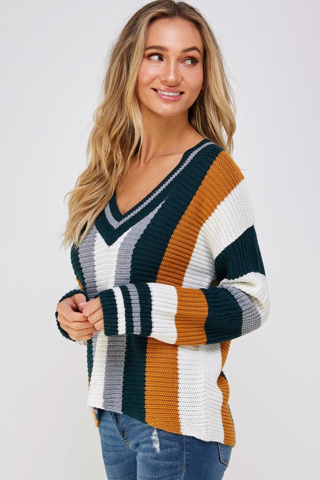 Skies Are Blue Large Stripe Sweater - Side Cropped Image