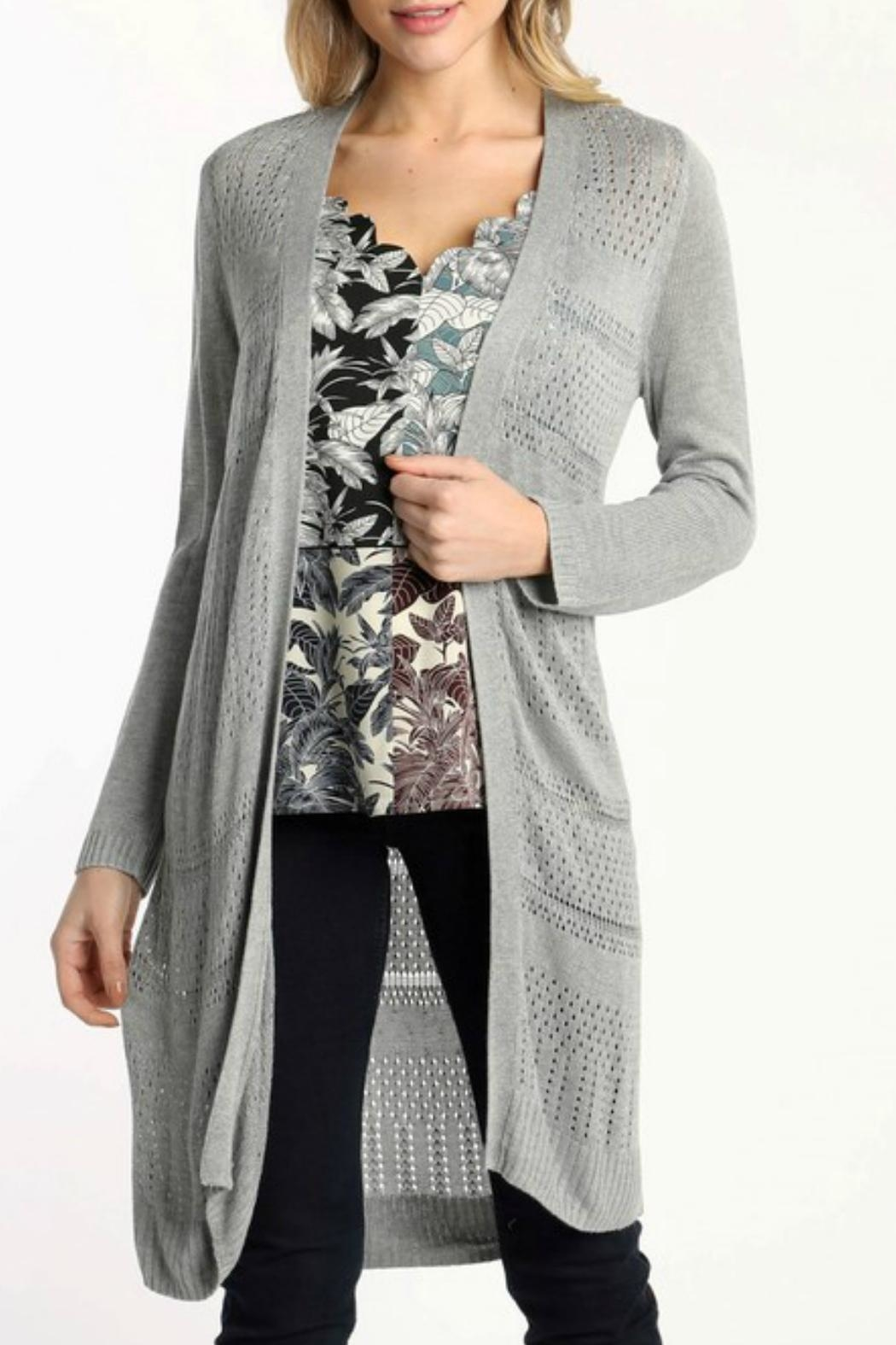 Skies Are Blue Lightweight Pointelle Cardigan - Front Cropped Image