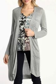 Skies Are Blue Lightweight Pointelle Cardigan - Front cropped