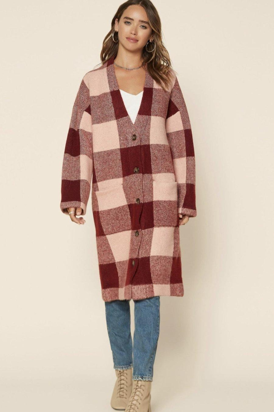 Skies Are Blue Oversized Checkered Cardigan - Front Full Image